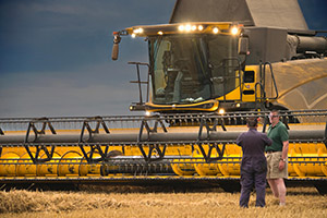 Combine Harvester Stops Work As Storm Approaches